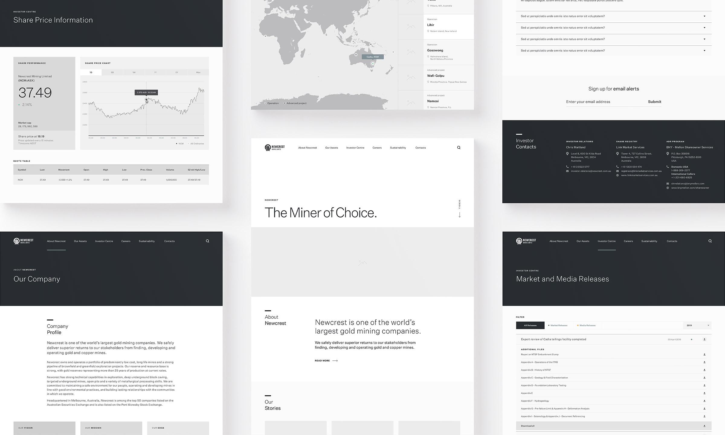 Newcrest Mining. Website wireframe design overview.
