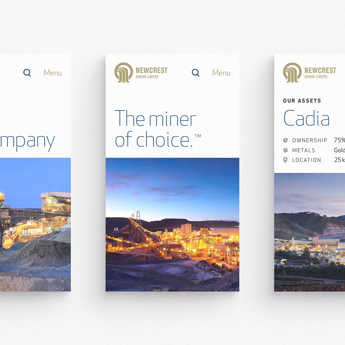 Newcrest Mining. Mobile responsive website pages design overview.