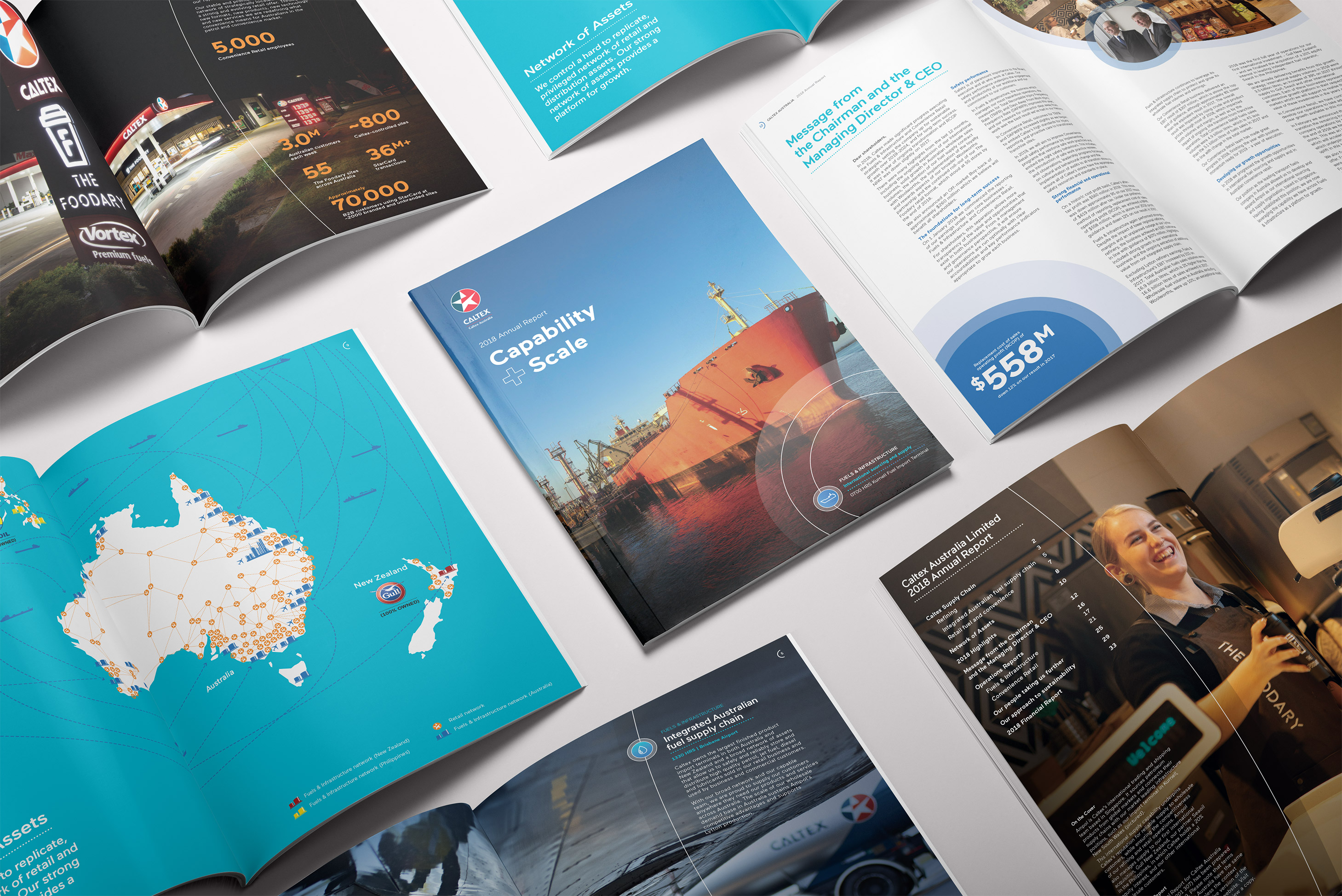 Caltex. Annual Report. Front cover and inside spread overview.