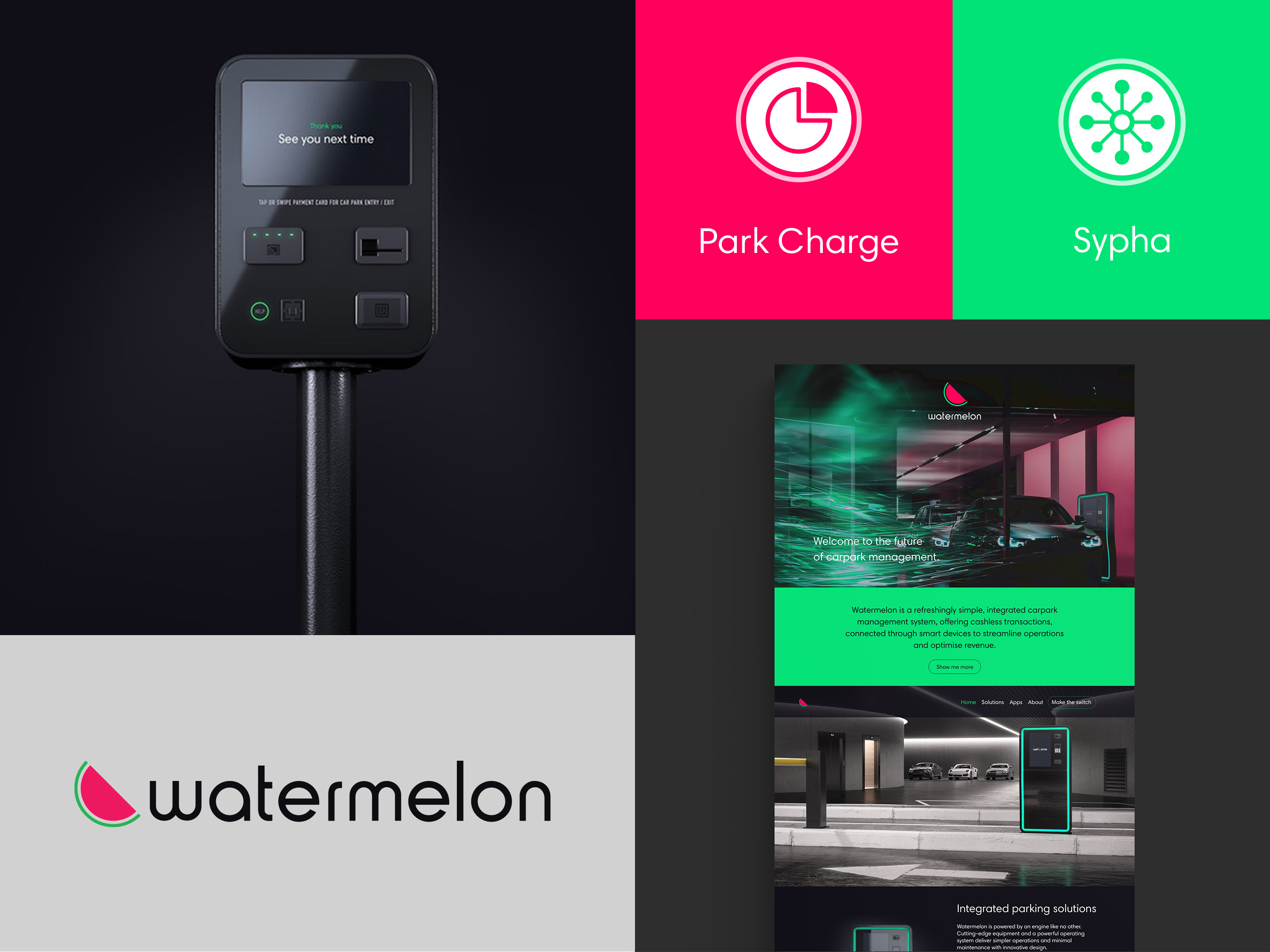 Watermelon. Brand overview with logo, iconography and interface designs.