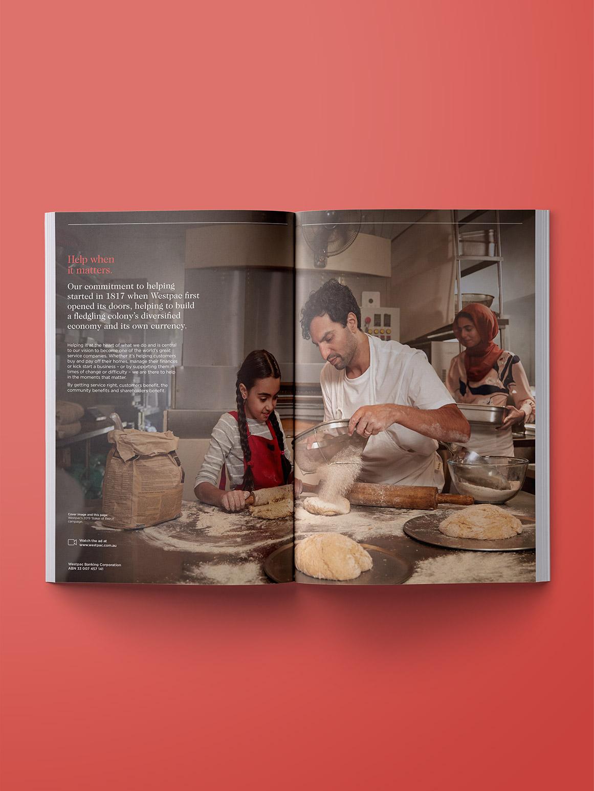 Westpac 2019 Annual Report. 'Help when it matters' inside spead.