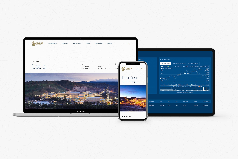 Newcrest Mining. Desktop, tablet and mobile responsive website design overview.