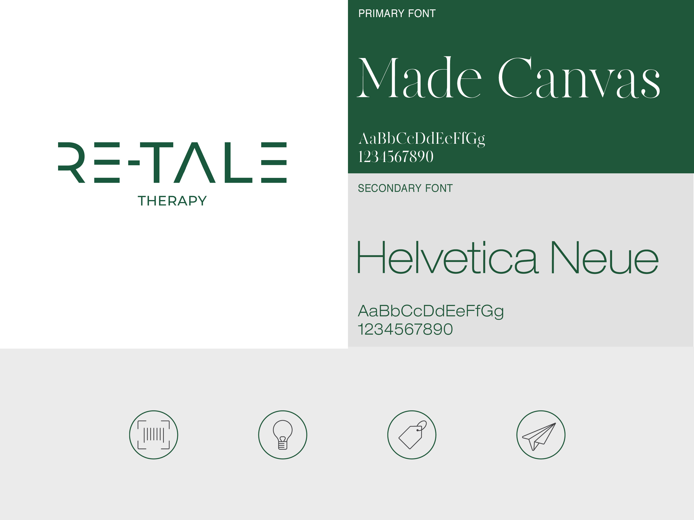 Aventus. Re-Tale Therapy. Brand overview of logo, typography and iconography.