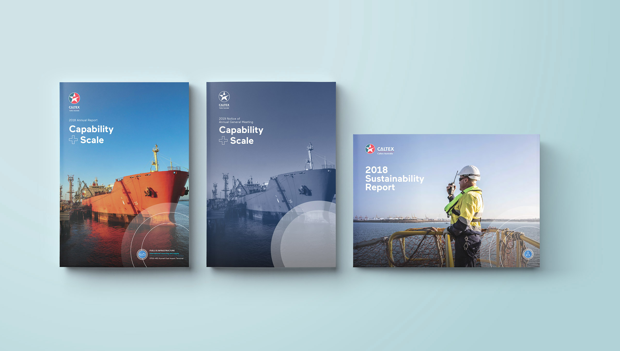 Caltex. Annual Report. 'Annual Report', 'Notice of AGM' and 'Sustainability Report' covers.