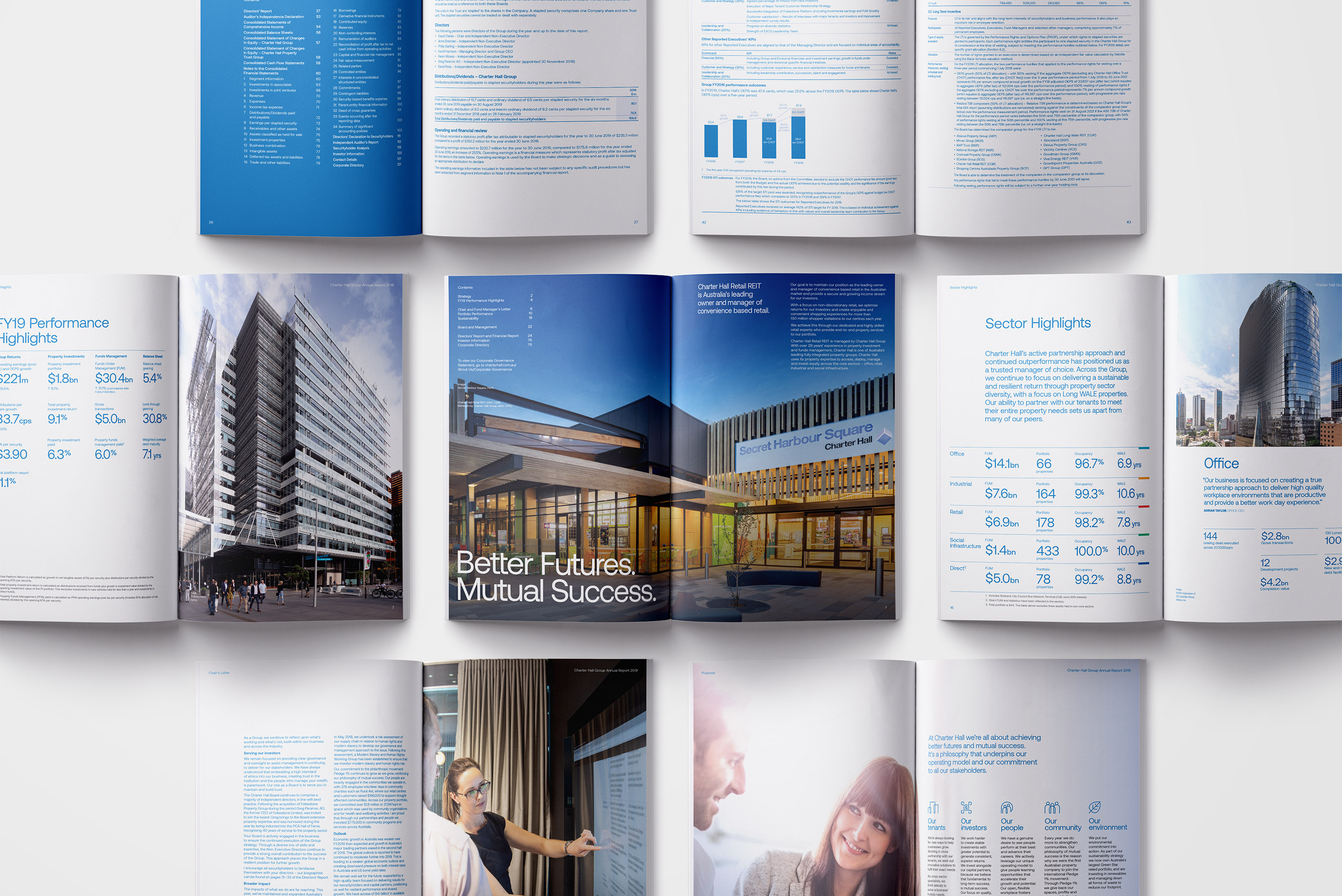 Charter Hall Annual Report. Inside spread page designs overview.