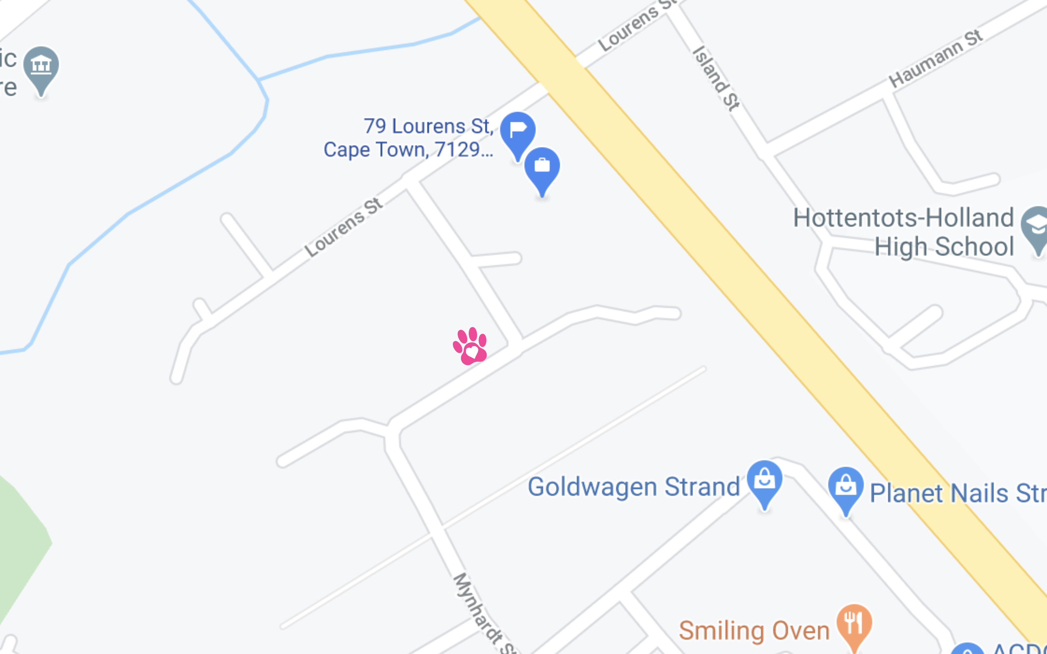 Snippet of Google maps showing location of DogsDayOut building.