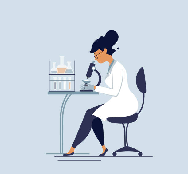 scientist illustration woman looking though microscope