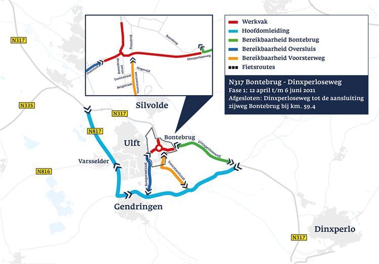 kaartje wegwerkzaamheden rotonde Bonteweg Ulft