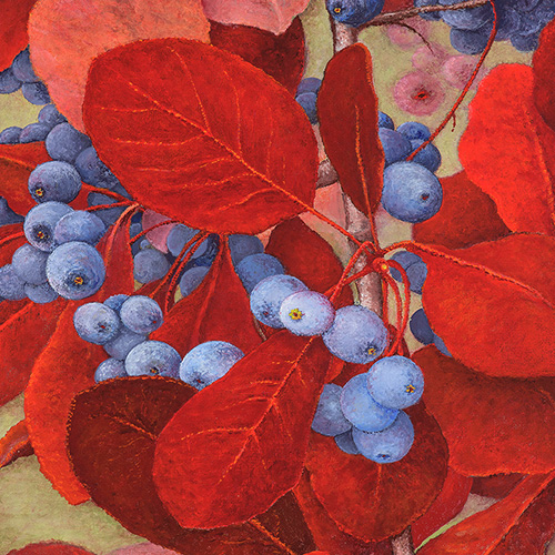 painting of red leaves and blueberries
