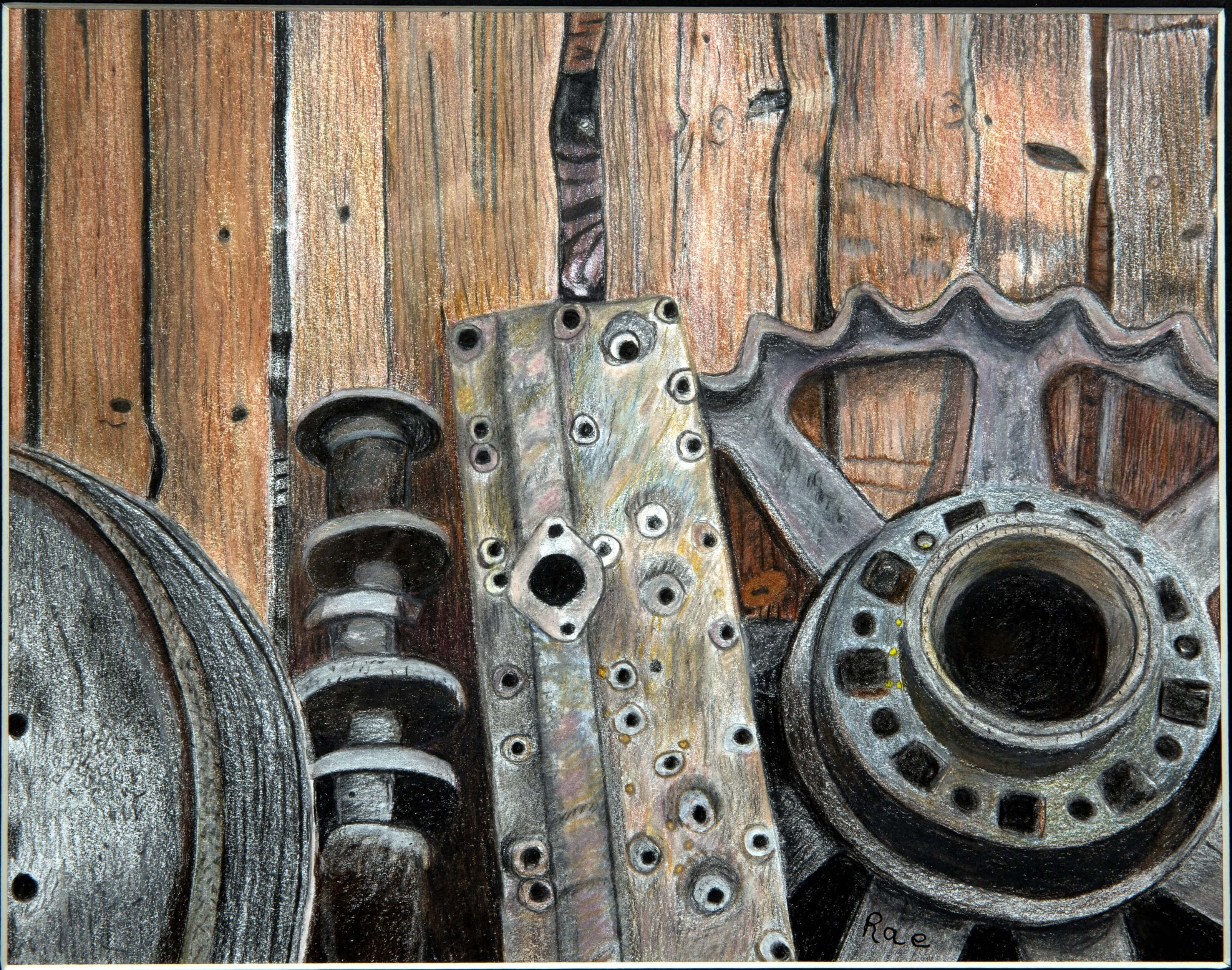 """""""Golden Years, Golden Gears,"""" a drawing by Sharon Nelson"""