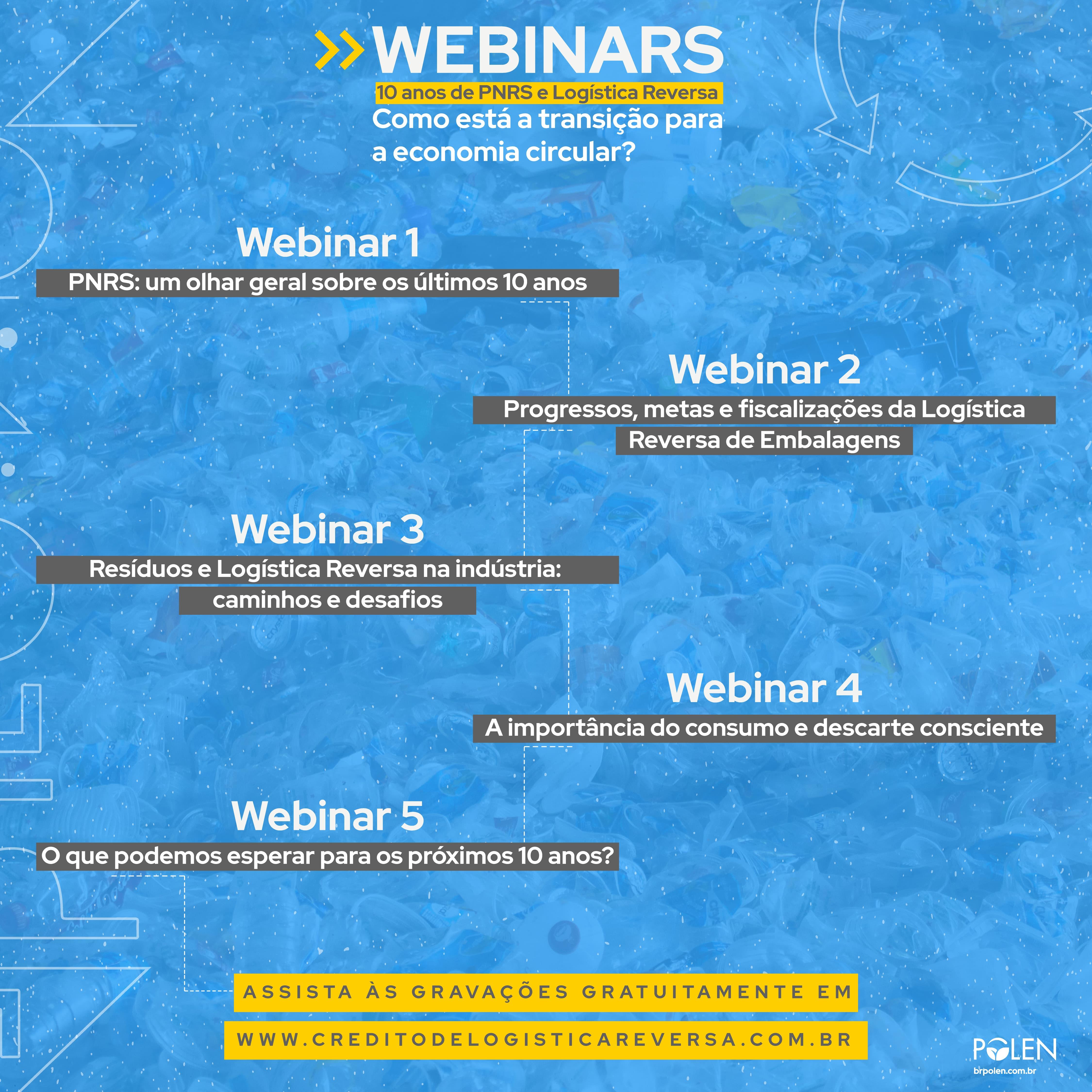 """Programação webinars """"10 anos de PNRS e Logística Reversa: como está a transição para a Economia Circular?"""""""