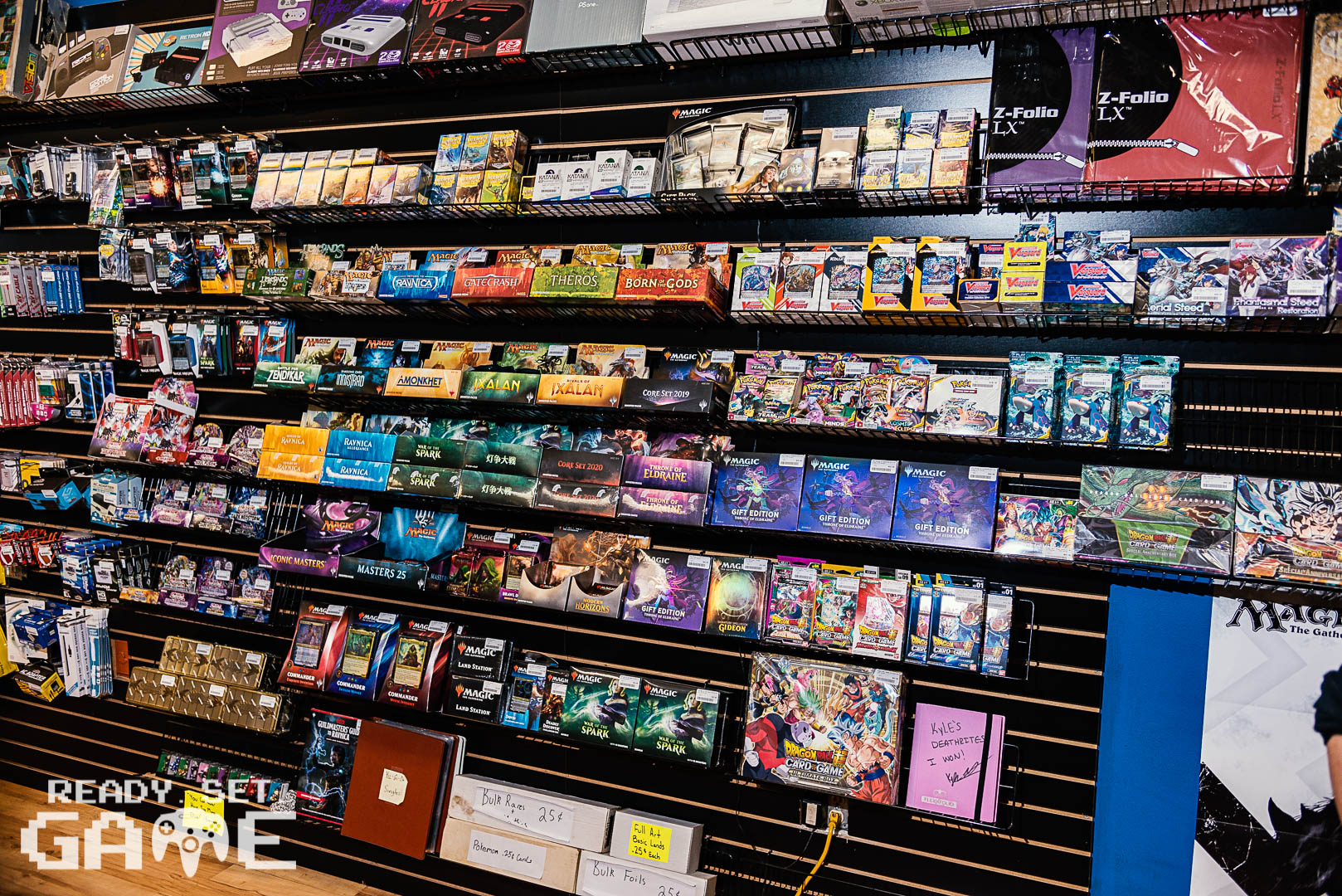 Ready set game behind the counter trading card games.