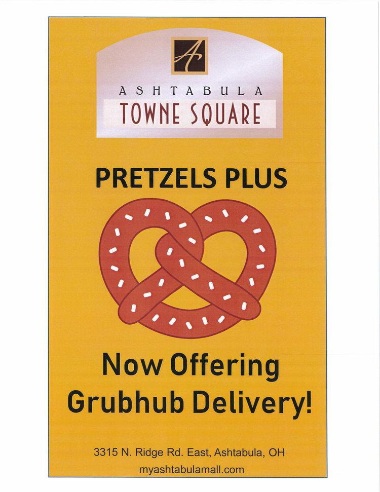 pretzel icon and text announcing pretzel plus grubhub delivery