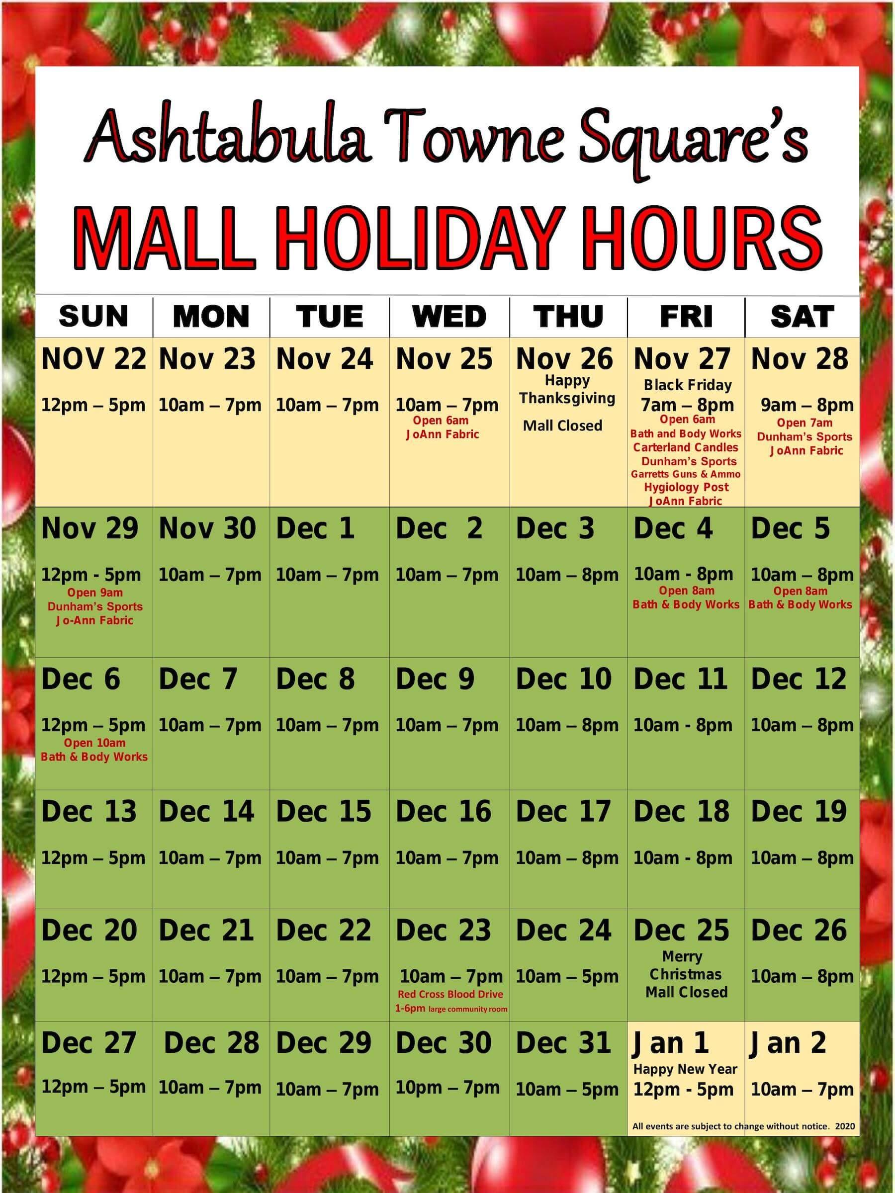 Calendar of mall hours