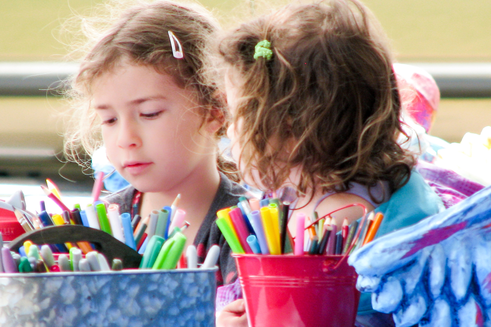 Girls making art