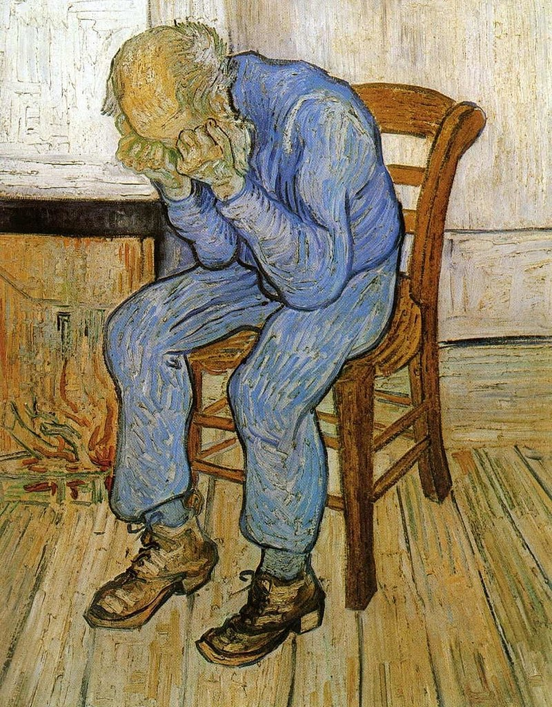 At eternity's gate by Vincent Van Gogh - depicts a depressed elderly man