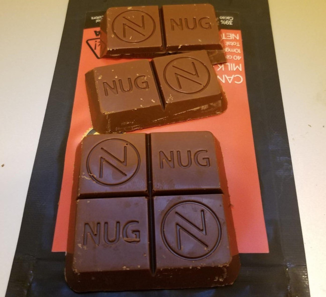 NUG cannabis chocolate bar potency