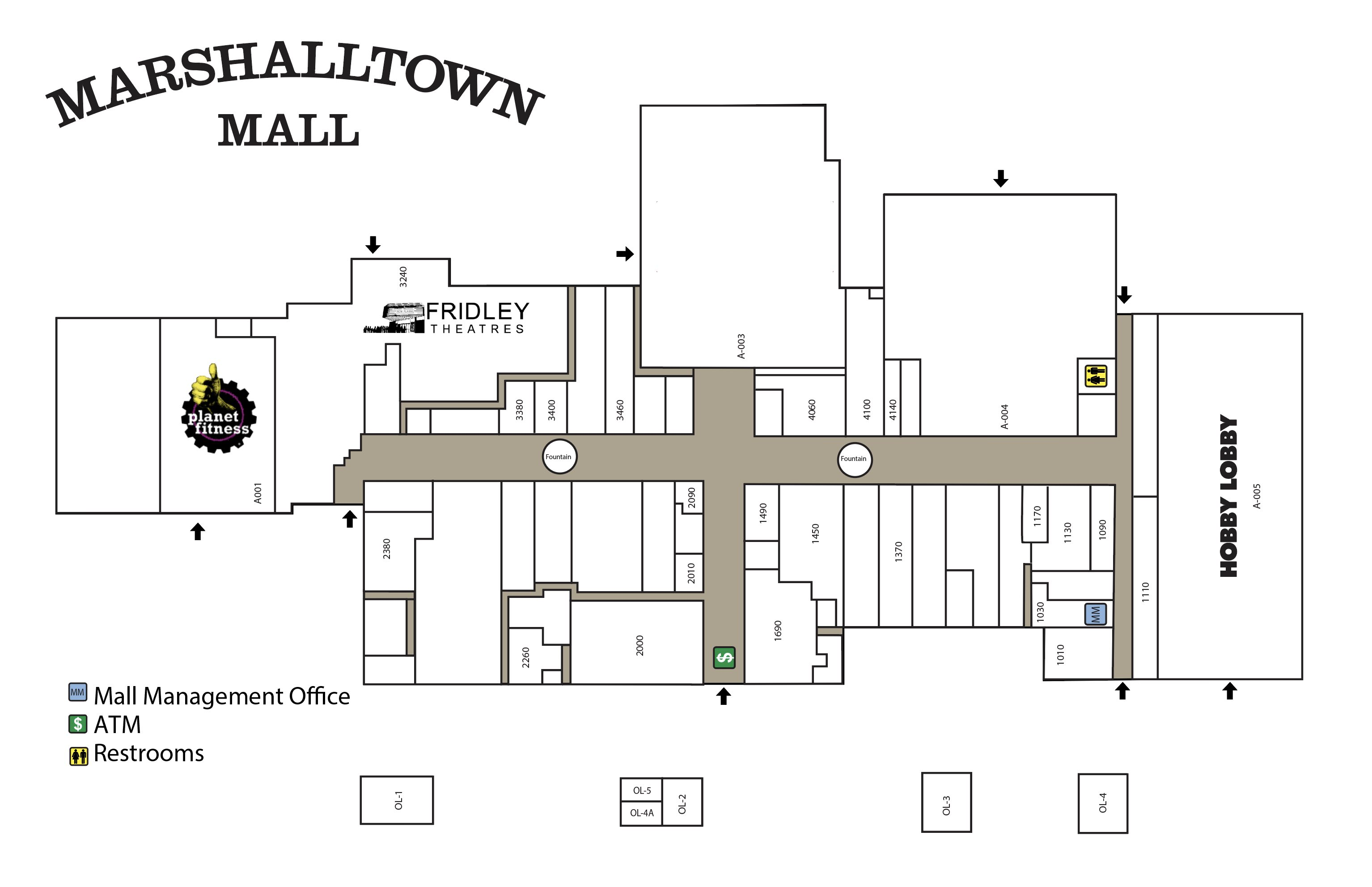 Map of the stores in Marshalltown Mall
