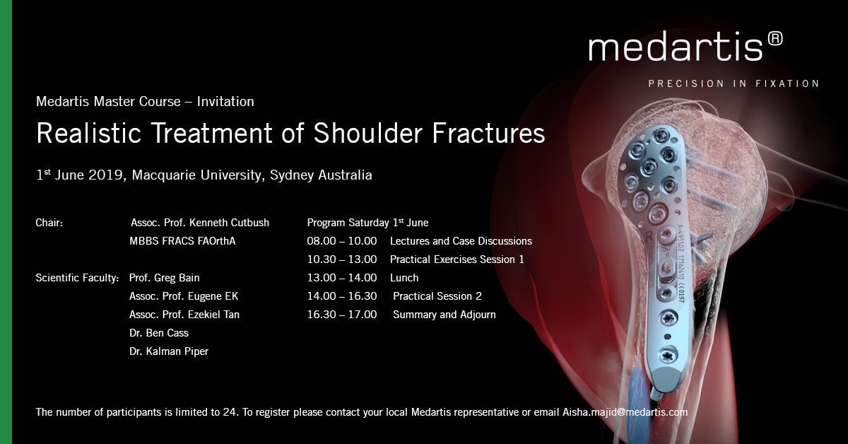 The course will include discussion regarding decision making in the management of shoulder fractures as well as laboratory surgical sessions fixing pre-fractured specimens which will undergo CT examination before and after fixation.
