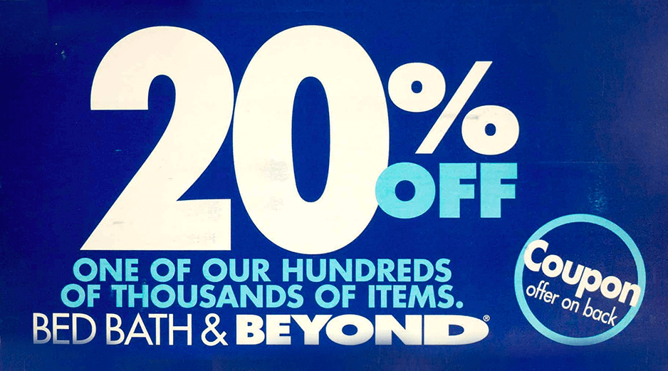 Bed Bath and Beyond postcard promising 20%. This is an example of a traditional, non-data-driven postcard.
