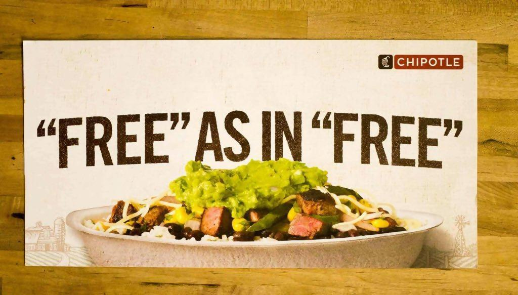 Free offer from Chipotle postcard
