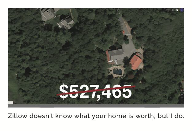 Aerial picture of a house and its price.