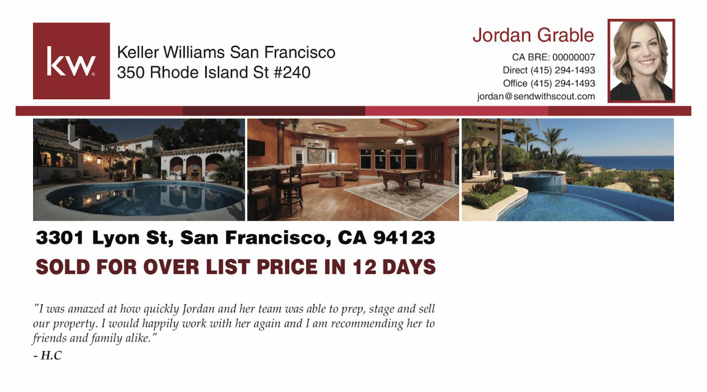 Example of a sales data real estate postcard from Scout.