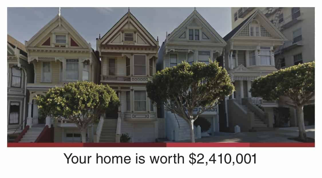 Real estate postcard showing front of a house its worth.