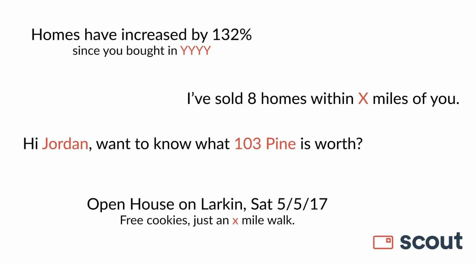 Scout real estate postcard with variables highlighted in red.
