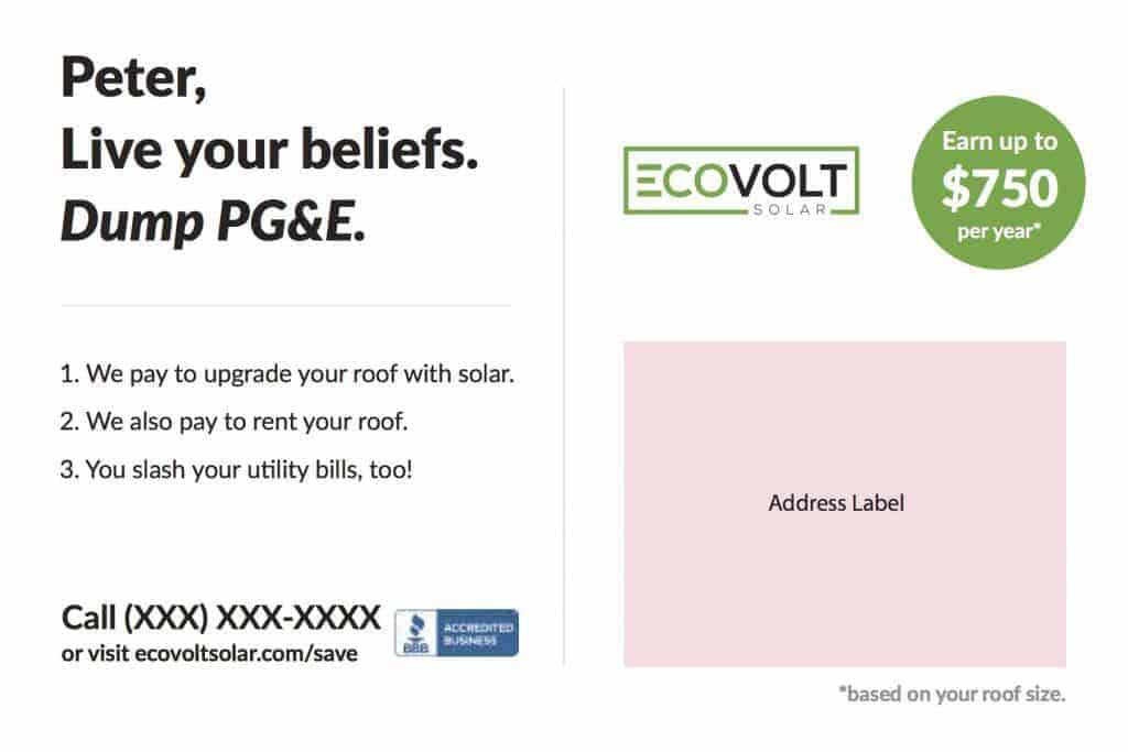 The completed version of the back side of an ECOVOLT solar postcard.