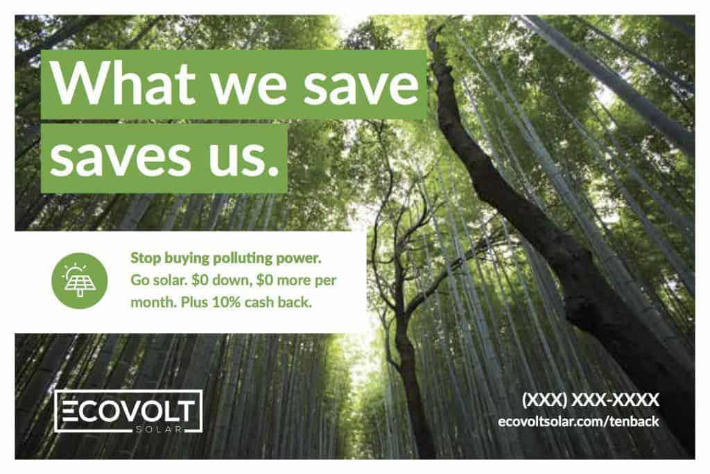 The completed version of the front side of an ECOVOLT solar postcard.