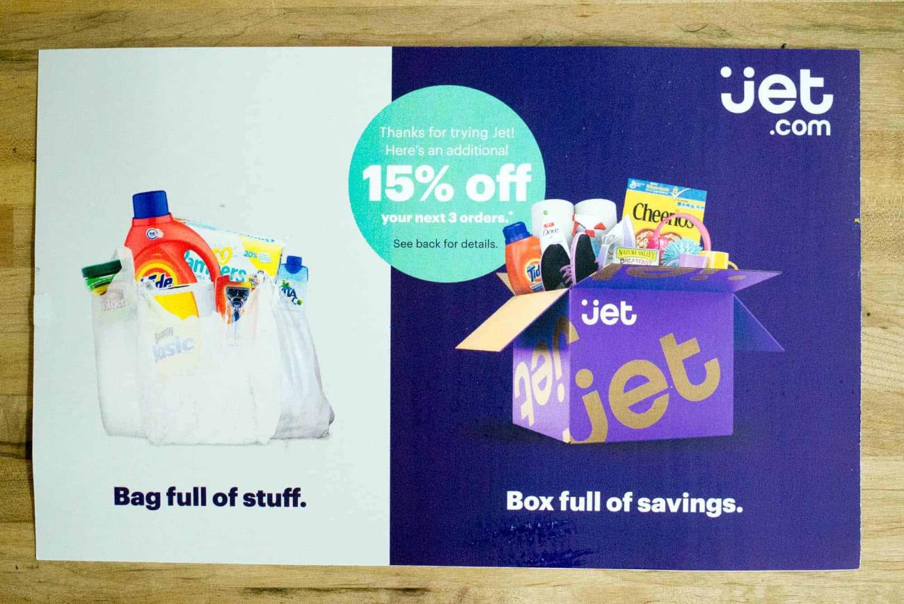 Image of a below average jet.com postcard.