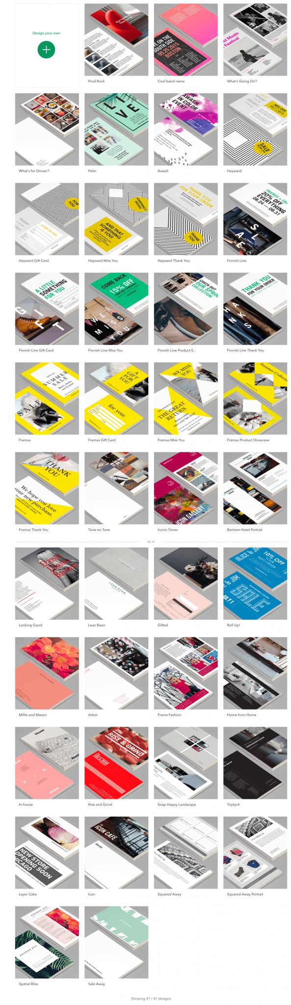 Screenshot of Moo.com's different print design offerings