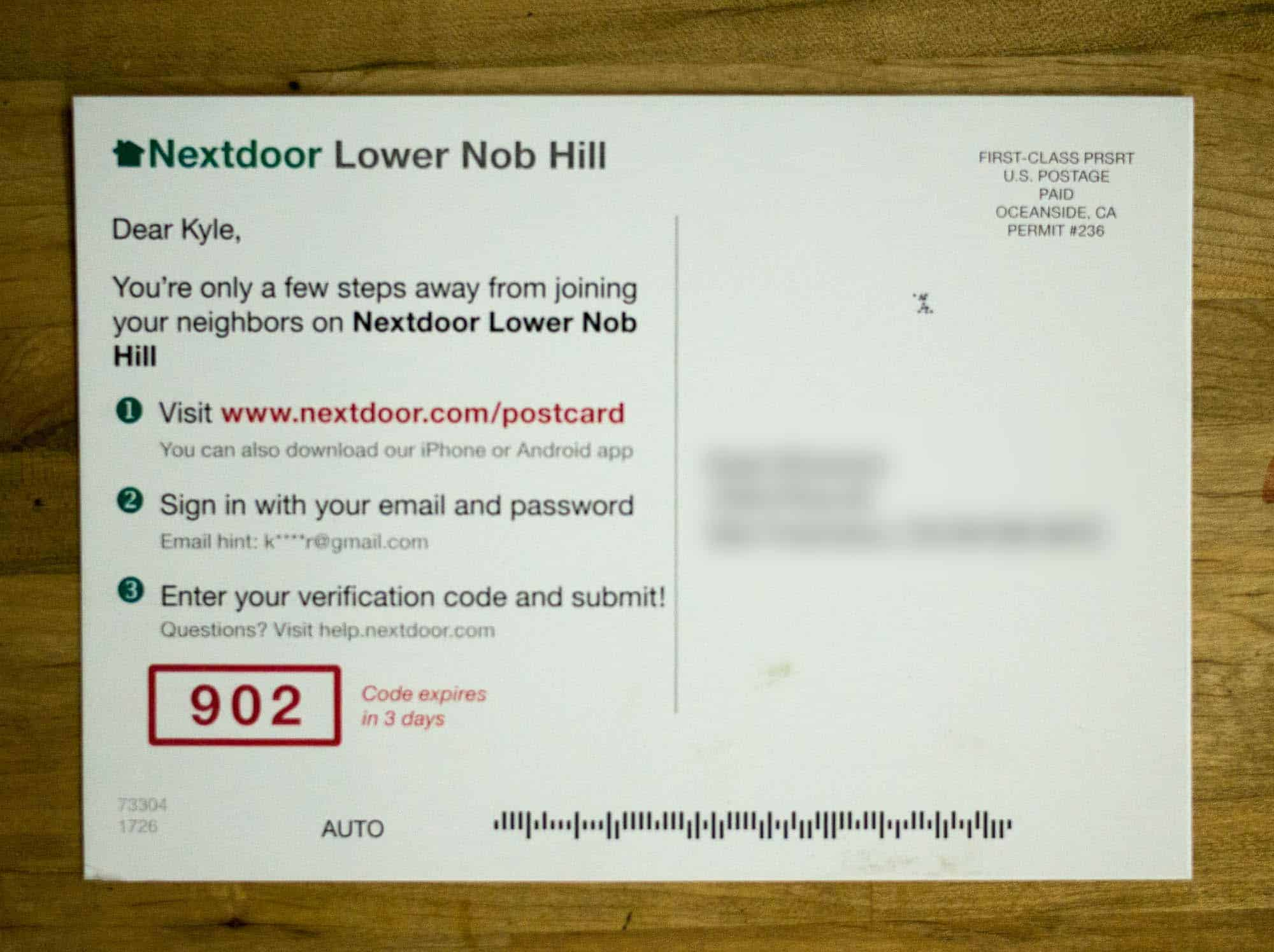 Image of the back of a Nextdoor postcard.