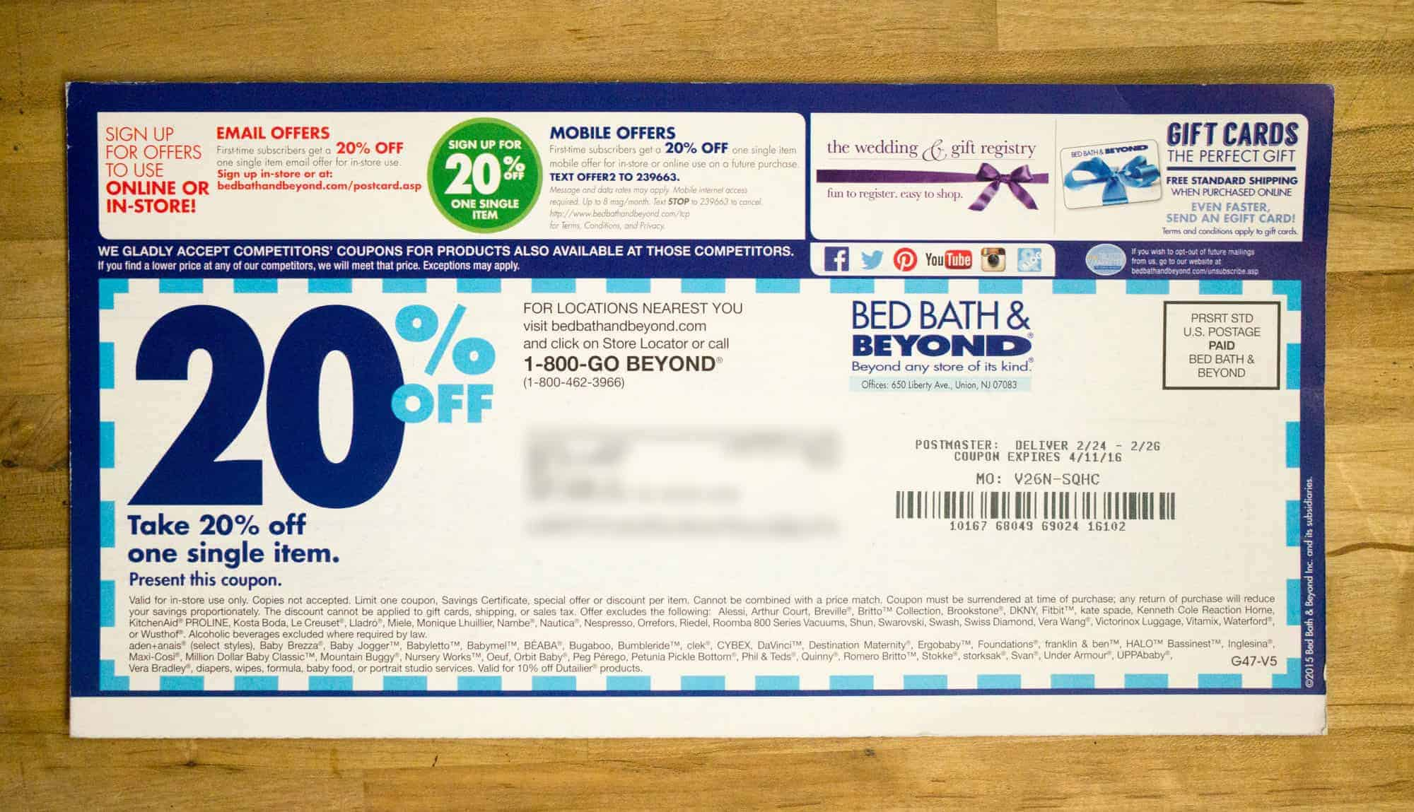Picture of the backside of the Bed Bath & Beyond postcard.