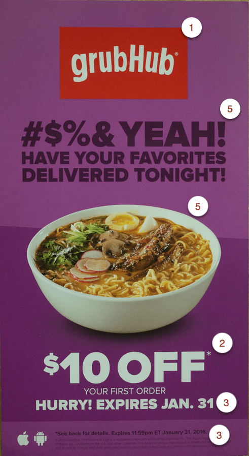 Picture of colorful grubHub postcard depicting an offer and bowl of ramen.