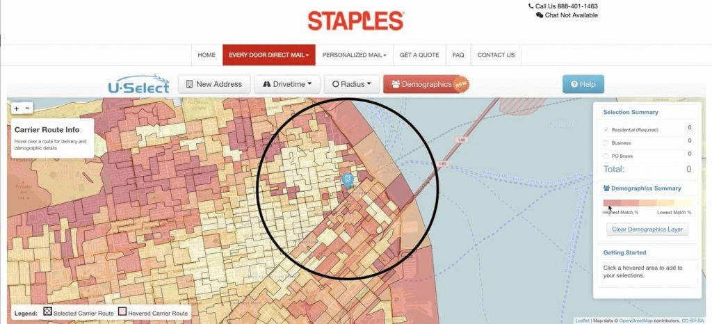 EDDM heat map showing demographics
