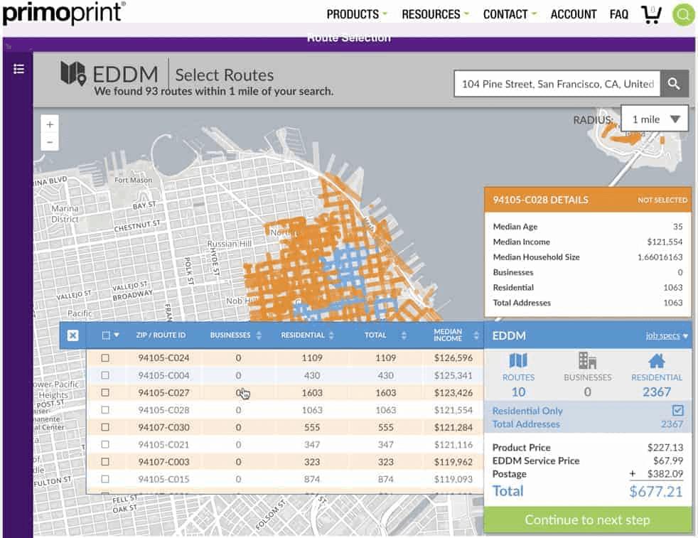 primoprint demographic EDDM table