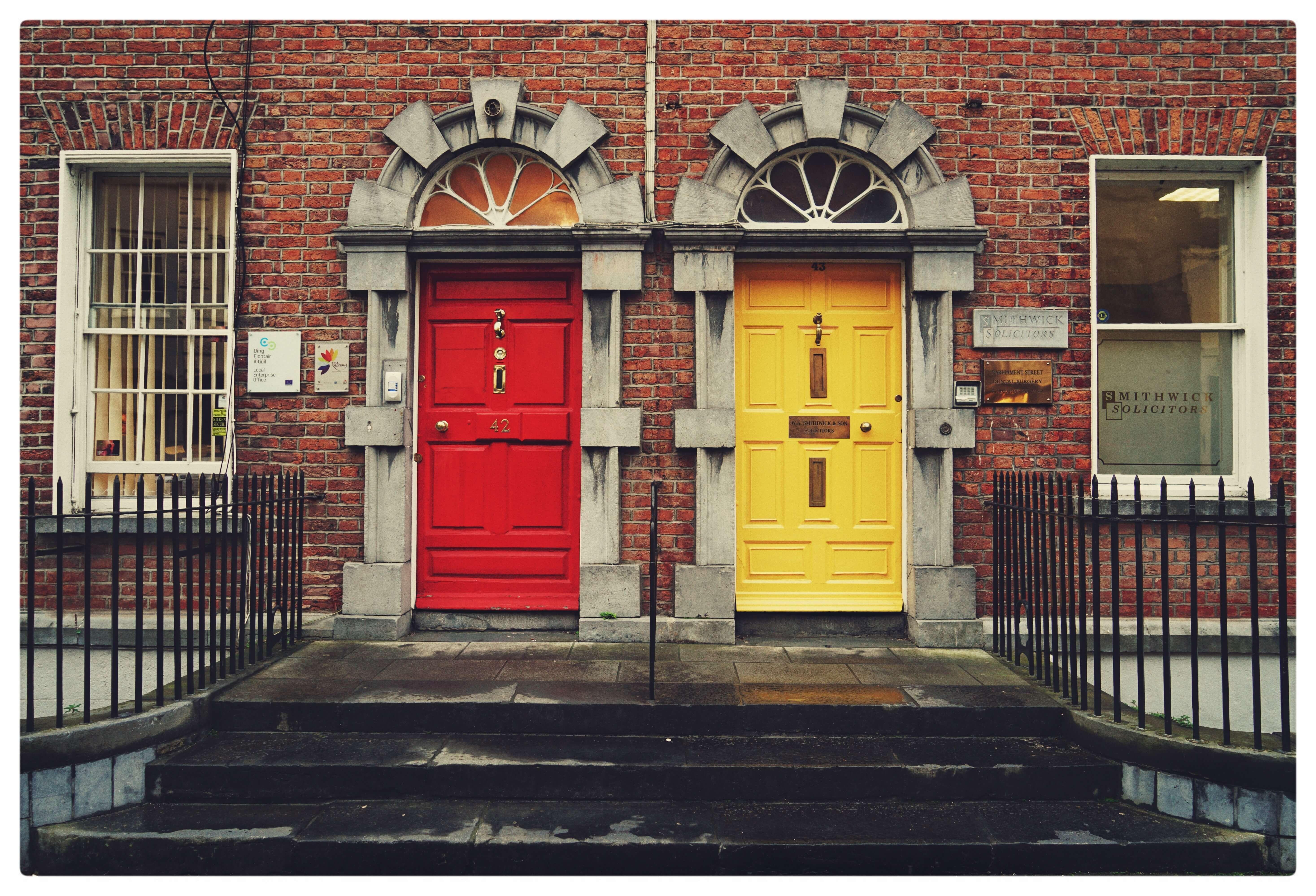 red door next to yellow door