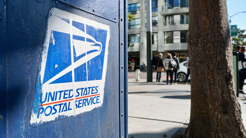 USPS blue mail box