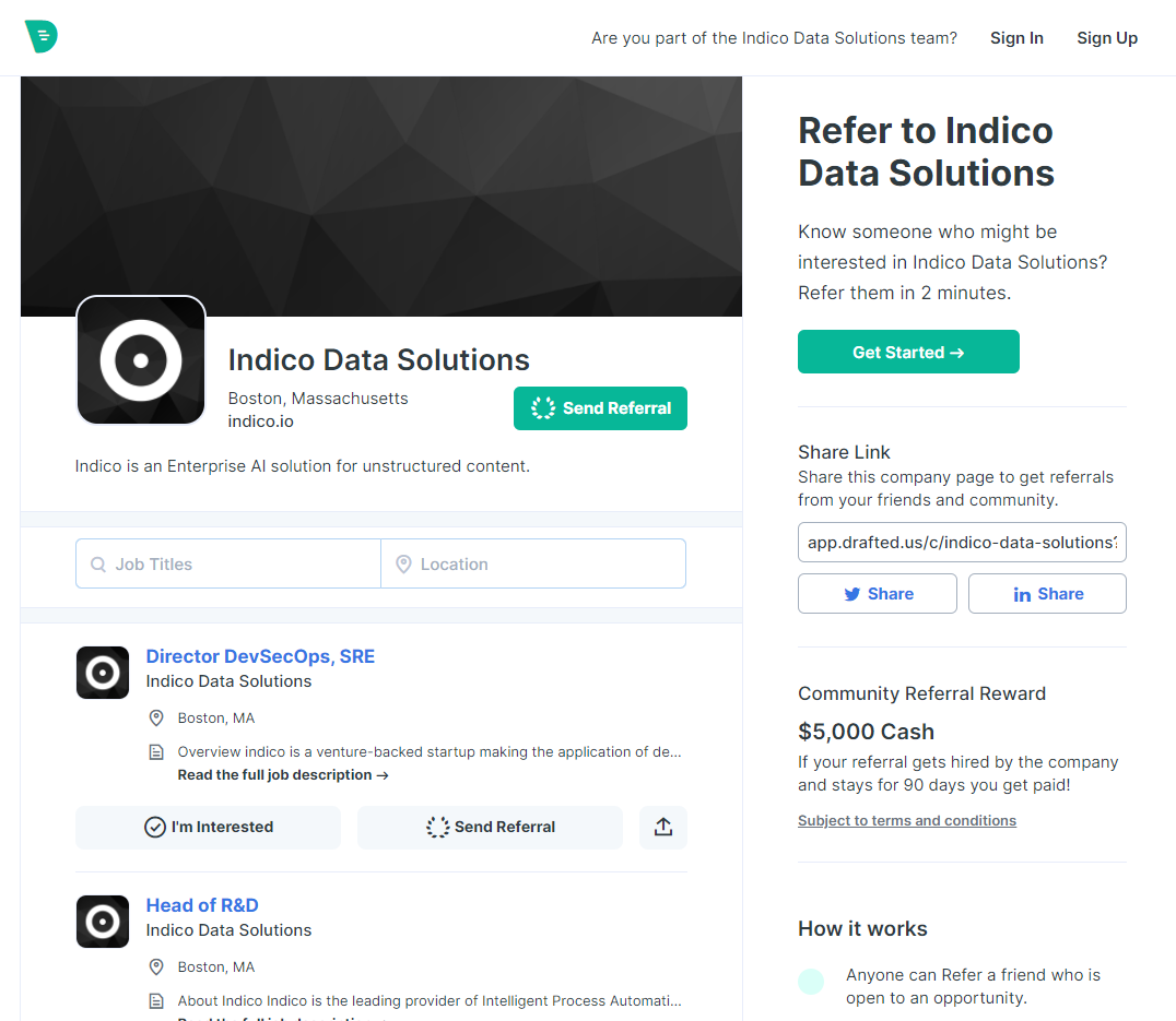 Image of referral page for Indico Data Solutions.
