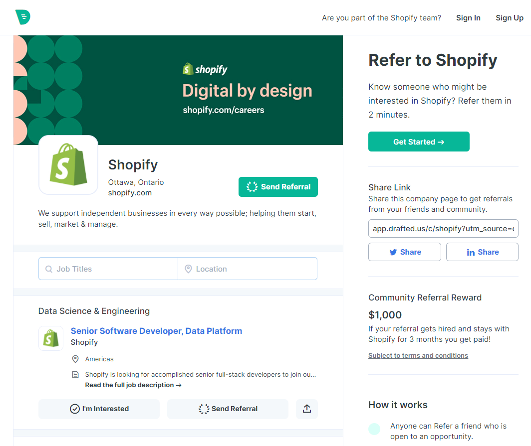 Image of referral page for Shopify.