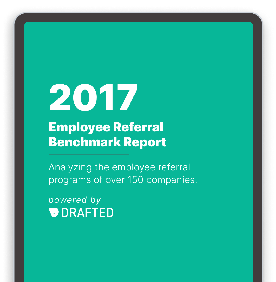 Image of the 2017 referral program benchmark report cover on a tablet screen.