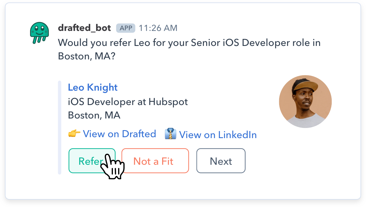Image of how to make employee referrals in Slack