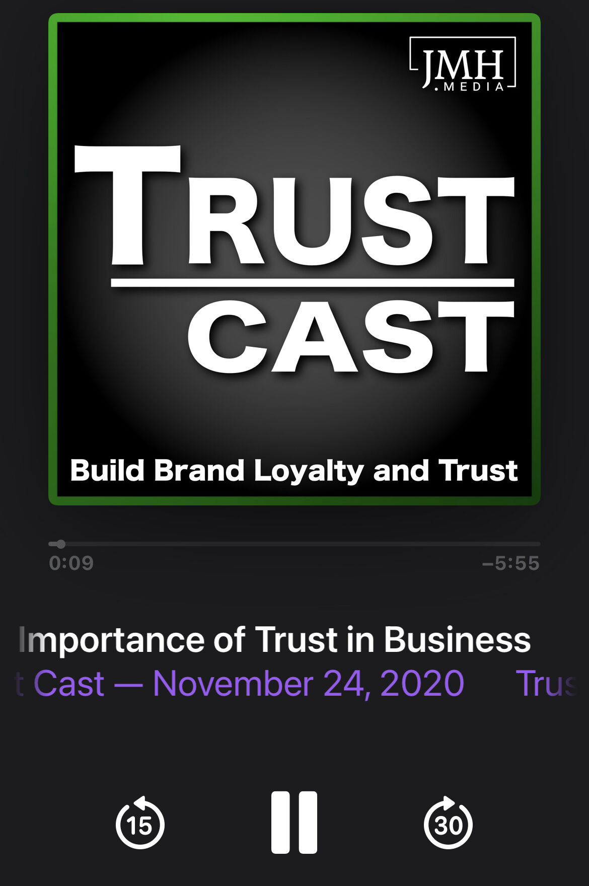Trust Cast Podcast in Apple Podcast Player
