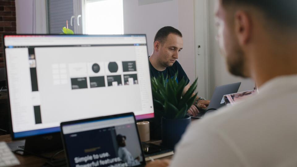Designer designing a Webflow Site