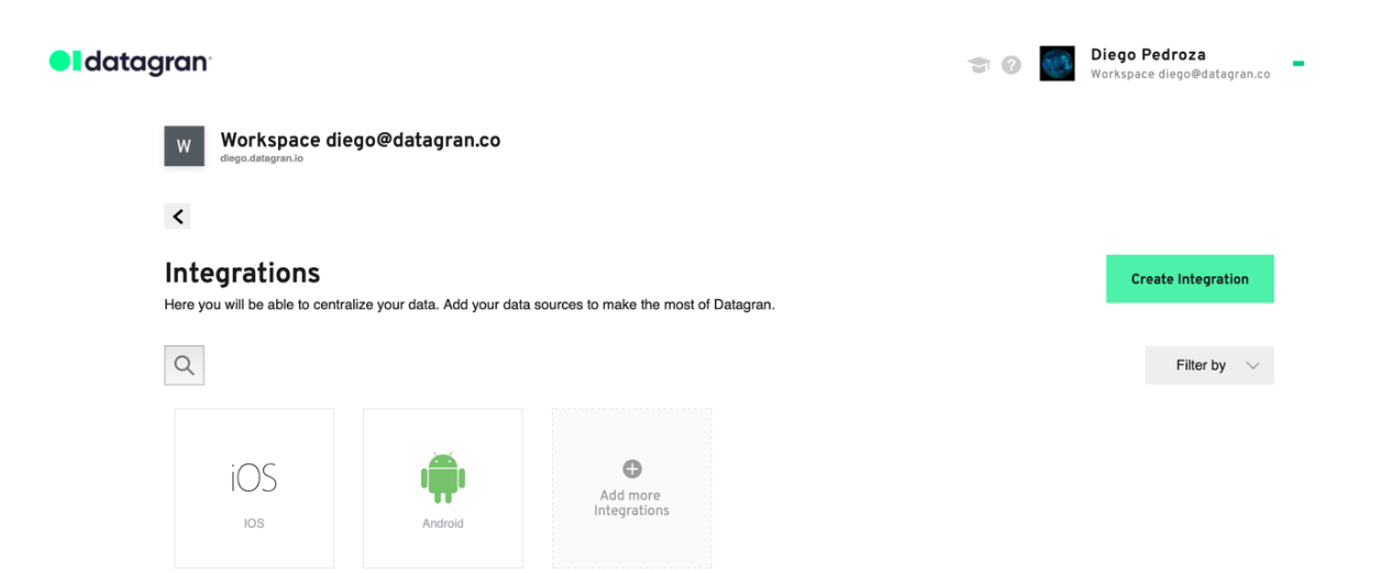 A Datagran integrations dashboard