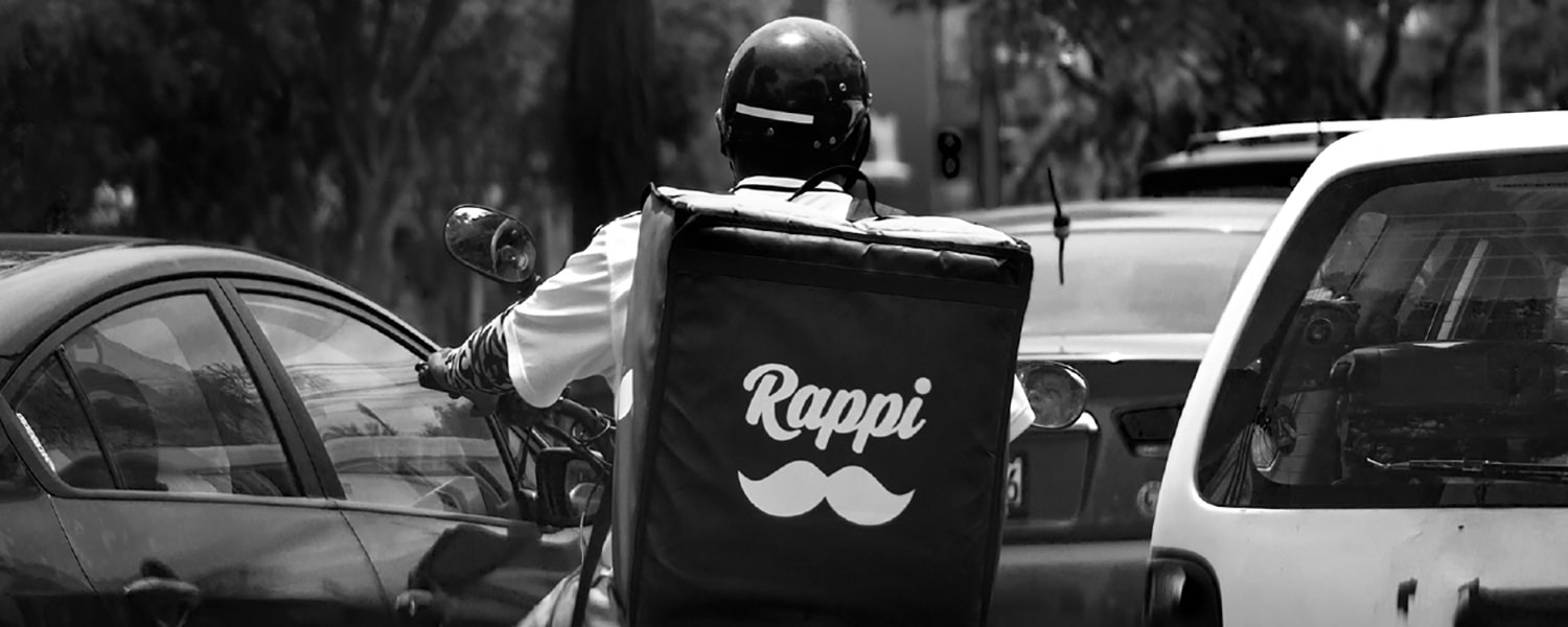 Rappi driver on a motorcycle