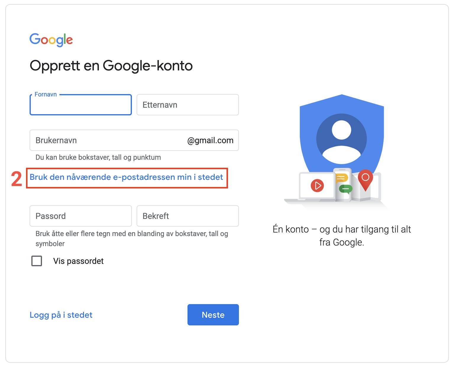 Opprettelse av Google-konto steg 2