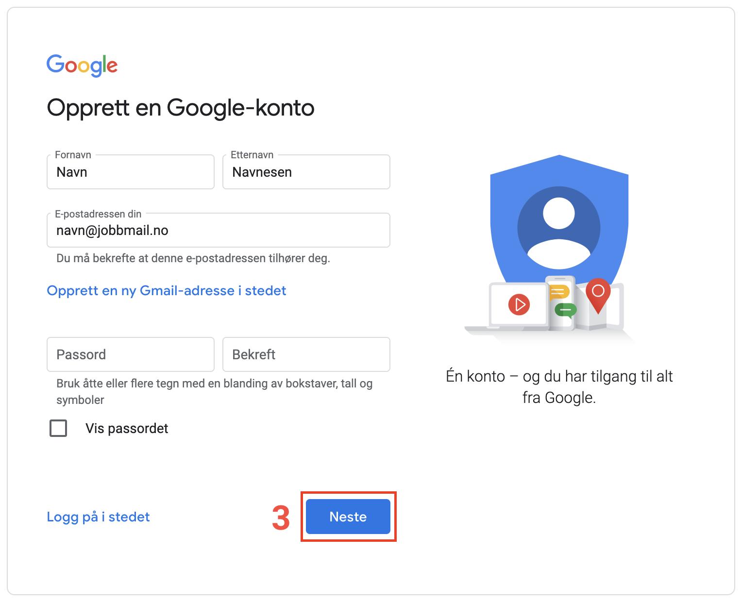Opprettelse av Google-konto steg 3